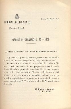 Apertura all'esercizio dello Scalo di Milano-Lambrate